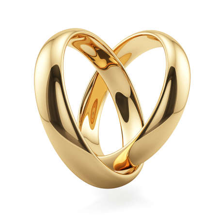vows: 3d render of golden rings heart shape isolated on white background. Love concept