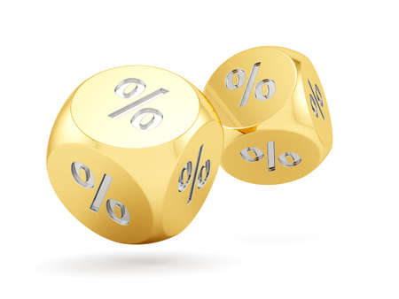 3d render of golden percent dices falling. Finance concept  photo