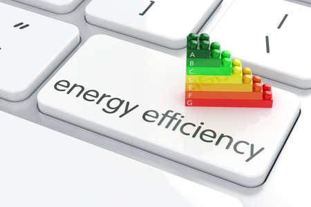 eficiencia energetica: 3d de la calificación de eficiencia energética en el teclado de la computadora