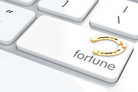 Fortune horseshoe button on keyboard with soft focus  photo