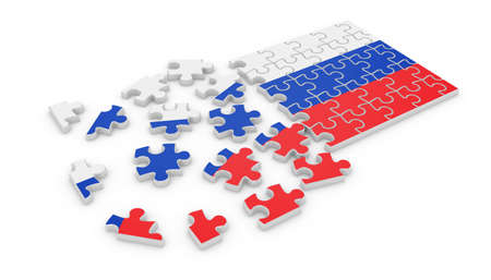 3d render of Russian puzzle flag isolated on white background photo