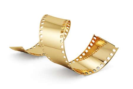 白い背景に分離された黄金のフィルム ストリップの 3 d のレンダリング。エンターテインメントの概念 写真素材
