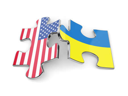 3d render of Ukraine and USA flags puzzle. Union concept photo