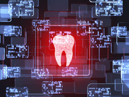 Future technology red touchscreen interface. Tooth icon screen