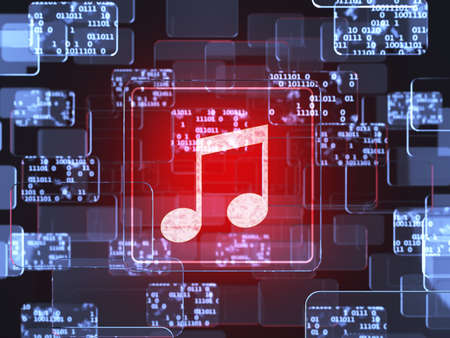digital music: Future technology touchscreen interface. Music screen concept Stock Photo