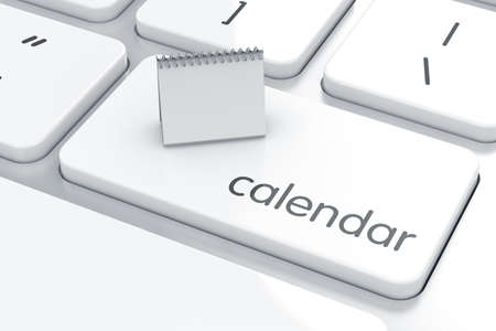 3d render of calendarl on the computer keyboard. Organizer concept  photo