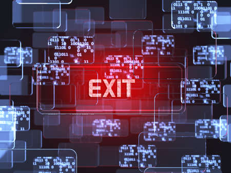 Future technology red touchscreen interface. Exit screen concept photo