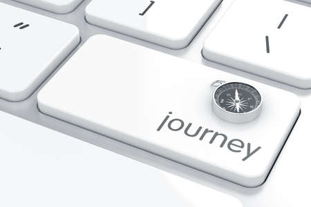 3d render of compass sign on the computer keyboard. Journey concept  photo