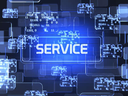 미래의 기술 블루 터치 스크린 인터페이스. 서비스 화면 개념 스톡 콘텐츠