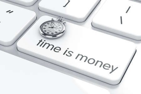 time money: 3d render of stopwatch on the computer keyboard. Business concept