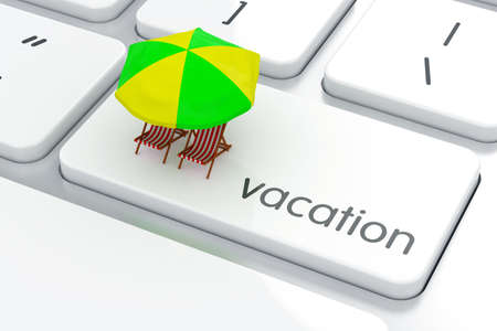 key board: 3d render of vacation concept. Computer keyboard Stock Photo