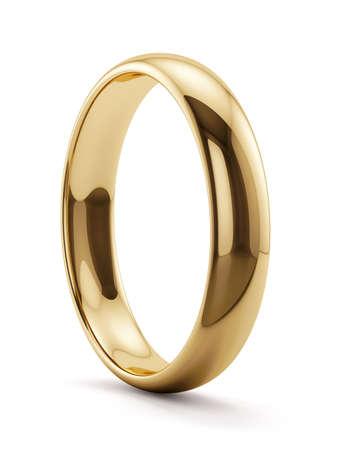 分離された黄金のリングの 3 d レンダリング