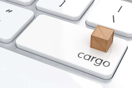 shipped: 3d render of Enter button with cargo container. Cargo shipping concept  Stock Photo
