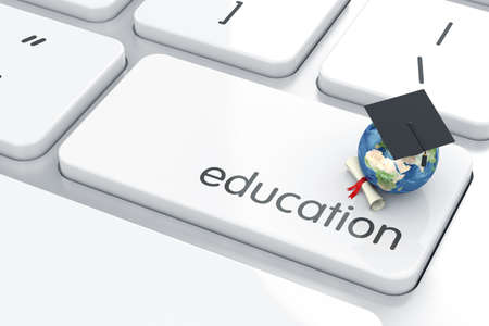 3d render of graduation cap icon on the keyboard. Education concept  Stock Photo