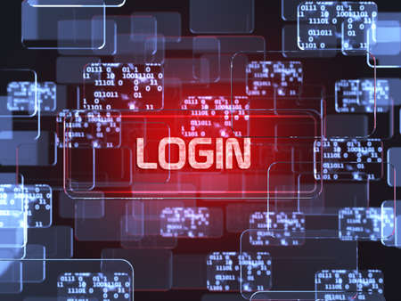 Future technology smart glass red touchscreen interface. Login screen concept  photo