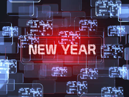 Future technology smart glass red touchscreen interface. New Year screen concept  photo