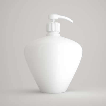 shave: 3d illustration of gel, foam or liquid soap dispenser pump plastic bottle