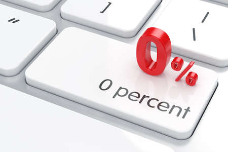 0 percent on the computer keyboard. Business concept