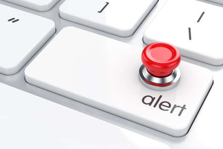 Red push button on the computer keyboard. Alert concept photo