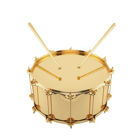 黄金のドラムが白い背景で隔離の 3 d レンダリング