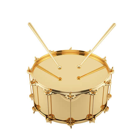 3D render van gouden drum geïsoleerd op witte achtergrond
