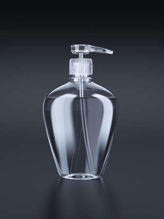 jabon liquido: 3d ilustración de gel, espuma o la botella de cristal de la bomba dispensador de jabón líquido. Aislado en el fondo blanco Foto de archivo
