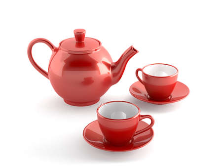 tea kettle: Set of red cups and teapot isolated on white background  Stock Photo