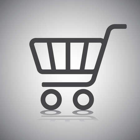 carro supermercado: Ilustración del vector del icono del carrito de compras con la sombra Foto de archivo