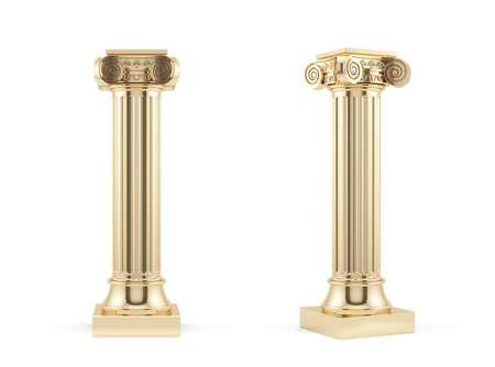 3d render of golden columns isolated on white background  版權商用圖片