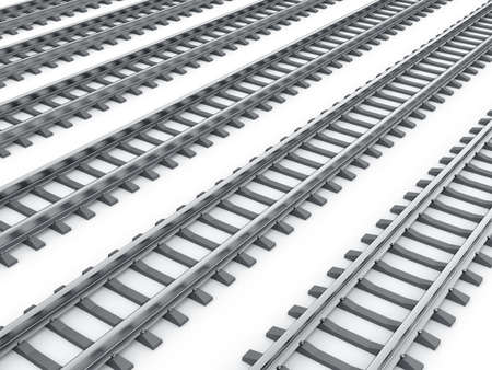 diverging: 3d render of railways isolated on white background  Stock Photo