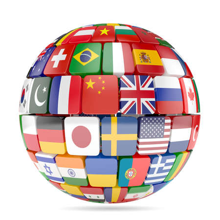3d illustration of flags collection sphere Stok Fotoğraf