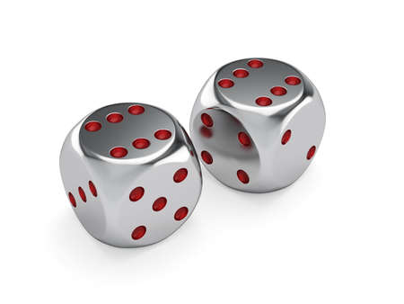 3d render of metal dices isolated. Success concept photo