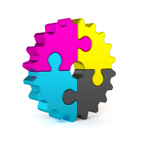 3d render of colorful CMYK puzzle jigsaw gear isolated on white background
