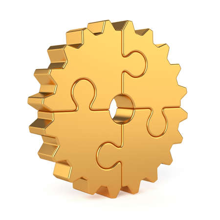 3d render of golden gear from puzzle pieces isolated on white background. Partnership and success concept