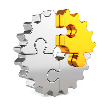 technology symbols metaphors: 3d render of metal gear puzzle pieces with golden one isolated on white background. Partnership and success concept
