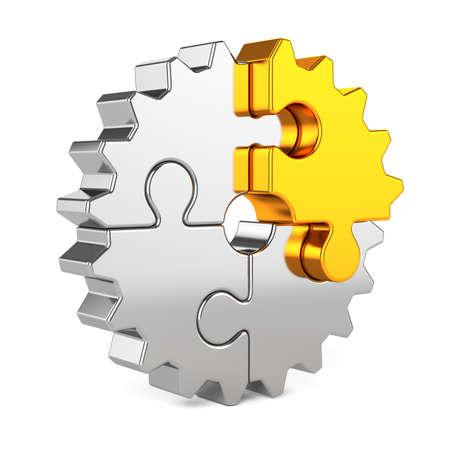 3D render van metal gear puzzelstukjes met gouden één geïsoleerd op een witte achtergrond. Partnerschap en succes concept