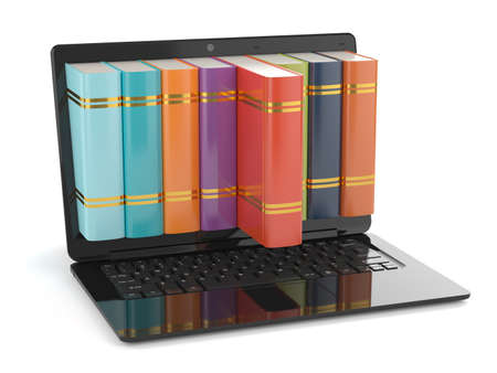 3d render of black laptop with books inside screen. Education concept photo