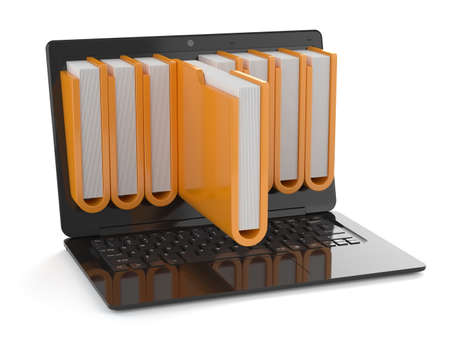3d render of black laptop with folders inside screen. Storage concept photo