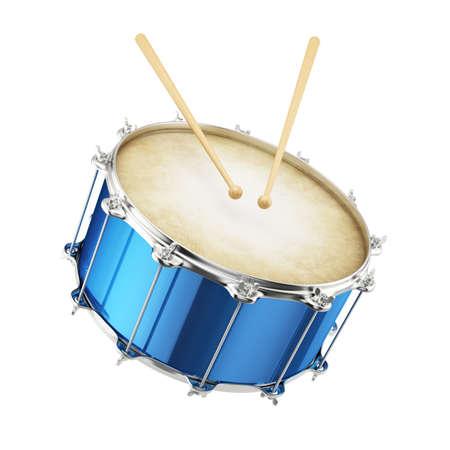 3D render van blauwe drum geïsoleerd op witte achtergrond