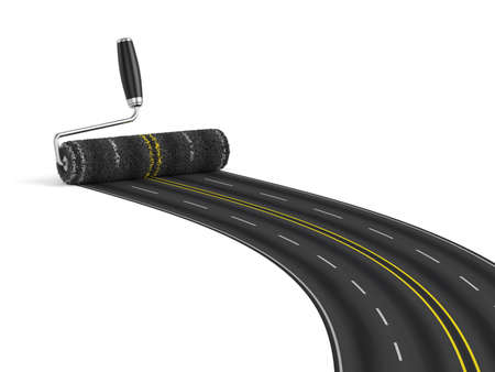 roadway: 3d render of painting the road with roller brush. Road construction concept
