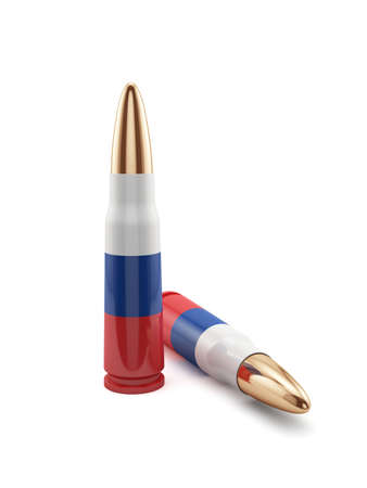 full metal jacket: 3d render of russian flag bullets isolated on white background