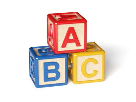 3D render van alfabet blokken op een witte achtergrond Stockfoto