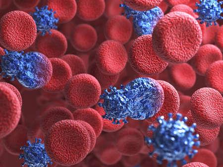 血とヒトの循環器系に感染するウイルスの細胞の 3 d レンダリング