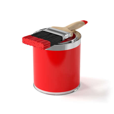 paint bucket: 3d illustration of paint brush with red can. Renovation concept Stock Photo