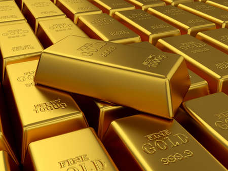 3d render of fine gold bars background. Treasure concept photo