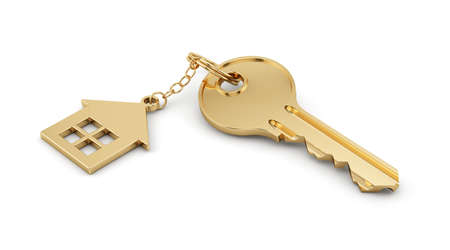 key chain: 3d render of golden home key isolated on white background. Estate concept