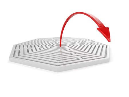 solved: 3d render of maze with red arrow isolated on white background. Solution concept