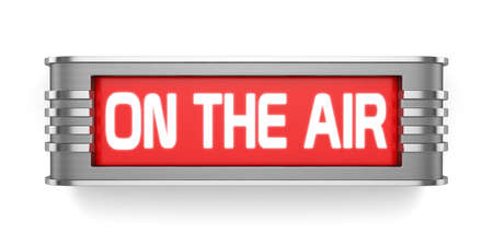 3d render of ON THE AIR sign isolated on white background Stock Photo