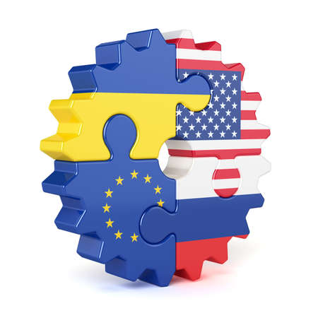Puzzle gear of stacked flags European Union, USA, Russia, and Ukraine. Isolated on white background photo
