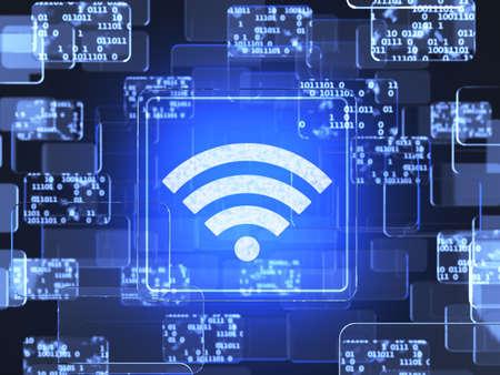 wireless hot spot: Future technology smart glass red touchscreen interface.Wifi screen concept  Stock Photo